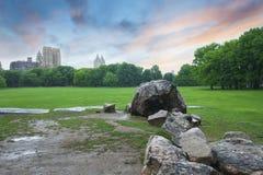 Central Park-Sonnenuntergang in New York City Stockbild