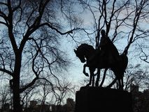 Central Park Statue Silhouette Royalty Free Stock Photo