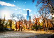 Central park at sunny autumn day Royalty Free Stock Photos