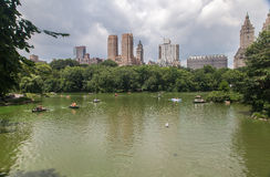Central Park and Tourists Paddling Stock Image