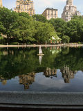 Central Park. Toy sailboat floating in the lake in Central Park royalty free stock photography