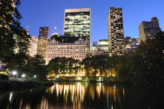 Central Park at Twilight. View of Central Park and New York City skyline Stock Photo