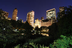 Central Park at Twilight. View of Central Park and New York City skyline Stock Photography