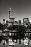 Central Park at twilight with Midtown skyscrapers. New York City Stock Photo
