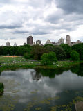 Central Park un giorno luminoso ma nuvoloso Immagine Stock Libera da Diritti