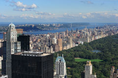 Central Park and Upper West Side. Photo of Central Park and Upper West Side with the George Washington Bridge in the background royalty free stock photo
