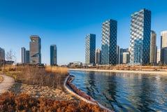 Central Park in van Bedrijfs songdo Internationaal District, Incheon stock afbeelding