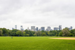 Central Park with view on Manhattan skyline stock image