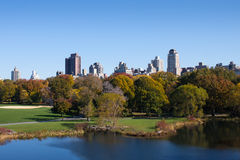 Central Park view, New York. Central Park view with a lake, in autumn, New York, USA Royalty Free Stock Image