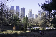 Central park view of New York Skyline in Fall Royalty Free Stock Photography