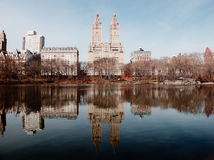 Central park, paths, elms, pond, beginning of February Stock Photography