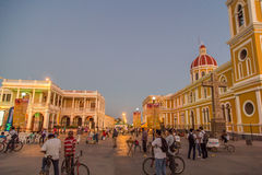 Central park view with tourists during international festival of poesy in Granada, Nicaragua Stock Images