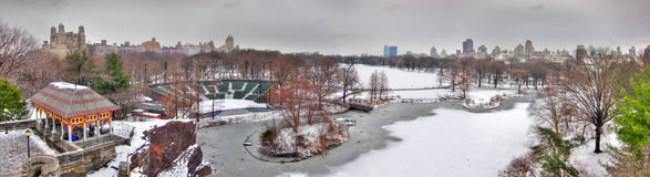 Central Park w śniegu, Manhattan, Miasto Nowy Jork Obrazy Royalty Free