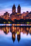 Central Park West. Skyline of buildings along Central Park West viewed from above Jackie Kennedy Onassis Reservoir in New York City royalty free stock images