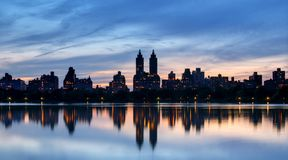 Central Park West. Skyline of buildings along Central Park West viewed from above Jackie Kennedy Onassis Reservoir in New York City stock photography