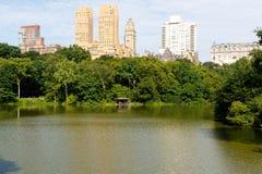 Central Park west en het meer Royalty-vrije Stock Afbeelding