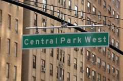 Central Park West Traffic Sign. In New York Royalty Free Stock Photography