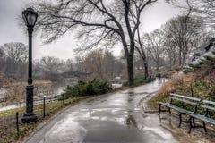 Central Park, New York City nach Regensturm Stockbilder