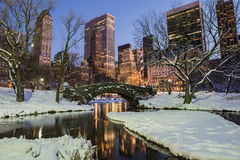 Central Park in winter with snow Stock Photo