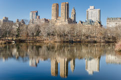 Central Park in Winter and Upper West Side Skyline Royalty Free Stock Image