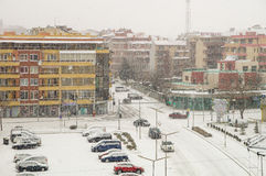 Central parking in snowy Pomorie in Bulgaria Royalty Free Stock Photo