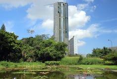Central Parkskyskrapor i Caracas Venezuela som sett från botanisk trädgård Arkivfoto