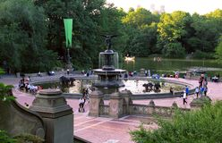 Central Parkspringbrunn, New York City Arkivfoto