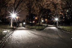 Central Parktvärgata på natten Fotografering för Bildbyråer
