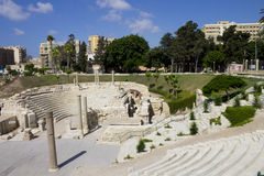 Central part of the Alexandria roman theater Stock Images
