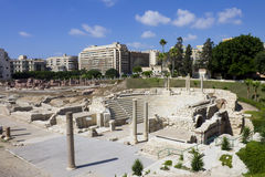 Central part of the Alexandria roman theater Royalty Free Stock Photography