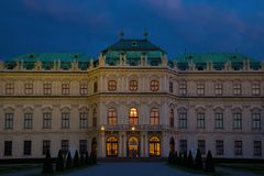 The central part of the Belvedere Palace, Vienna. VIENNA, AUSTRIA - APRIL 26, 2018: The central part of the Belvedere Palace close-up in the April twilight royalty free stock photography