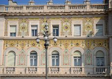 Central part of the building of the Prefecture of Trieste in Friuli Venezia Giulia (Italy) Royalty Free Stock Photos