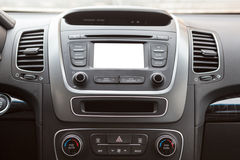 Central part of the dashboard with cutout blank screen Royalty Free Stock Photo