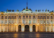 The Central part of the facade of the Winter Palace during the white nights. Saint Petersburg Royalty Free Stock Images