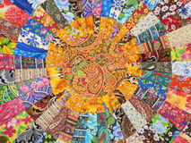 Central part of the handmade patchwork carpet. Stock Photos