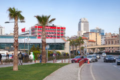 Central part of Izmir city, Street view Stock Images