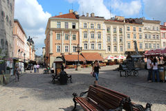Central part of Lvov city Stock Photography