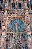 Central part of the Strasbourg Cathedral facade with rose window Royalty Free Stock Photography