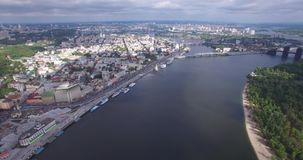 Central part of the Ukrainian capital with many historical buildings and srteets stock video