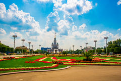 Central pavilion, exhibition center. Beautiful flower beds. ENEA,VDNH,VVC. Moscow, Russia. Royalty Free Stock Images