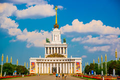 Central pavilion, exhibition center on the blue sky background. ENEA,VDNH,VVC. Moscow, Russia. Stock Images