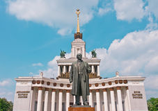 Central Pavilion on VVC in Moscow. Lenin Monument and Central Pavilion on VVC, Moscow, Russia, East Europe stock photo