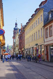 Central pedestrian street in Heidelberg Royalty Free Stock Image