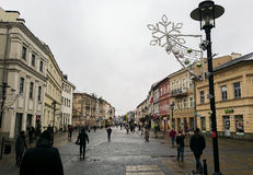 The central pedestrian street of Lublin Stock Photography