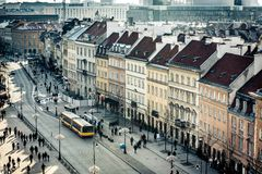 Central pedestrian street of Warsaw. Nice view of the central pedestrian street of Warsaw Krakow suburb stock photo