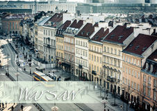 Central pedestrian street of Warsaw Stock Image