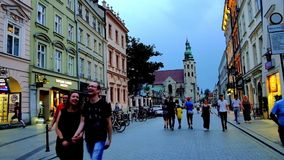 Central pedestrian streets in Krakow, Poland stock video