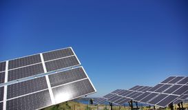 Central of photovoltaic panels. Royalty Free Stock Images
