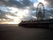 Central Pier Blackpool. Blackpool with the central pier at dusk Royalty Free Stock Photo