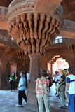 The central pillar of Diwan-i-Khas in Fatehpur Sikri Royalty Free Stock Photo